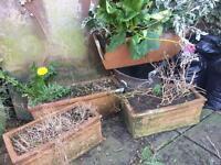 4 ceramic planters flower pots baskets troughs