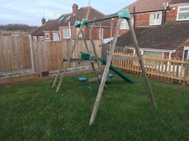 Children's wooden climbing frame