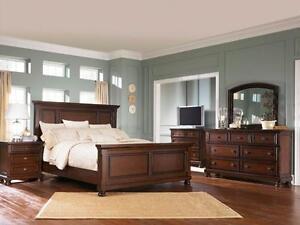 6Pc Ashley furniture bedroom set millenium Porter NEW IN BOX  Queen bed  Dresser  Mirror  Nightstand  Reg price $3999 no