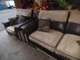 FAUX BROWN LEATHER / HESSIAN SETTEE AND ARMCHAIR WITH REMOVABLE CUSHIONS.