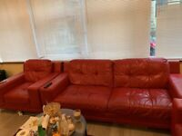 Sofa , Red Leather, Expensive looking, Dining Table, Chairs