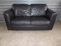 Black Leather 2-seater Sofa