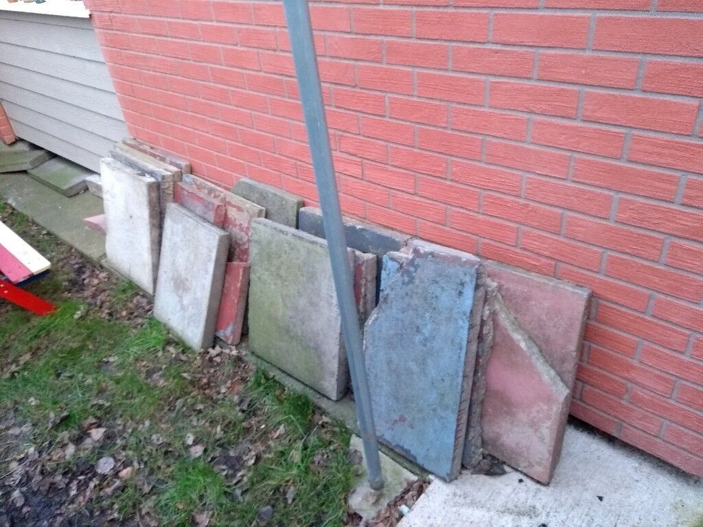 12, 13, Flagstones, garden slabs, some cracked and chipped some fine need rid of asap