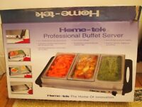Home-Tek buffet server, hot plate with 3 separate stainless steel containers with transparent lids