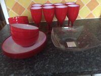 Red melamine dinner set