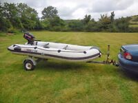 YAM 330S inflatable with 4HP Mercury 2 stroke outboard engine and galvanised road trailer