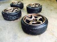 Rota grids 17x9j e25. 5x114.3 wheels 5 stud alloys and tyres
