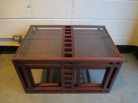 MACKINTOSH STYLE THREE PIECE GLASS TOP COFFEE TABLE SET NEST OF TABLES SIDE TABLES FREE DELIVERY