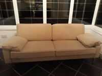 Sofa cream coloured velour fabric