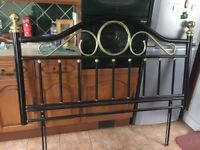 Metal headboard for King Size bed in black and gold