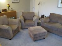 Cargo 3 piece suite, opening footstool, 3 seater sofa & 2 arm chairs light brown very good condition
