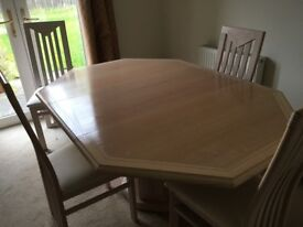 Delorme dining table and four chairs