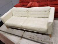 White Leather 3 Seat Sofa