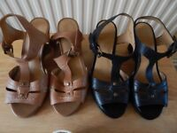 2x M&S wedge sandals size 3.5 wider fit