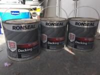 Ronseal decking stain stone grey X3
