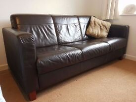 Contemporary Brown Leather Sofa