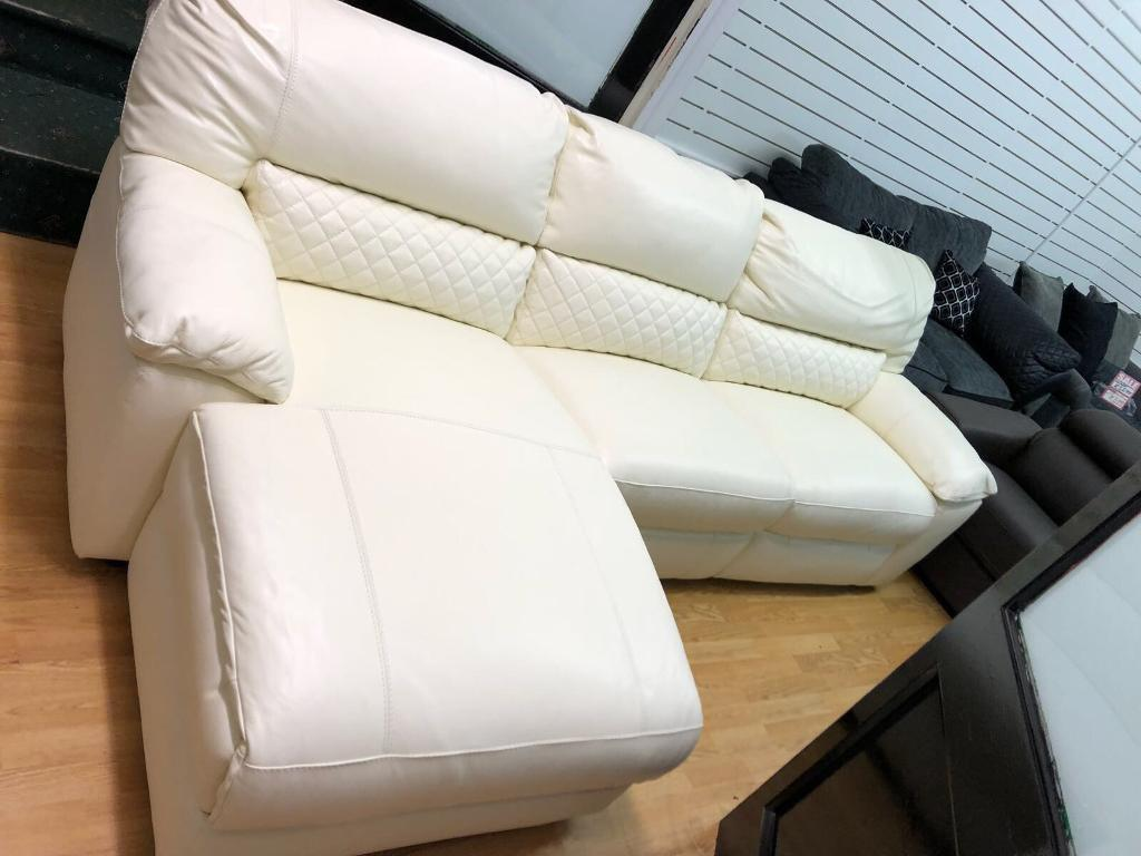 Dfs Grid White Leather Chaise Sofa