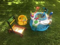 Baby bouncer, bath seat and push trolley
