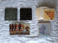 Assorted beverage coasters