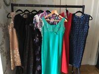 Joblot of 8 Vintage Dresses, Polly Peck, Carnegie, After Six, Michael Marcella Ltd labels