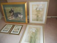 Selection of green themed pictures with gold frames