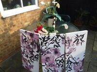 THREE MONSOON PRINTS & LARGE ARTIFICIAL FLOWER DISPLAY WITH VASE