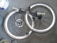 """New 26"""" MTB Aero Wheelset/Discs/Calipers/Road Tyres/Bars/Stem/Shifters/Cables"""