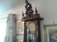 19th century Victorian Vienna double weight wall clock with horse carving.