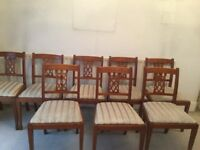 Set of 8 magnificent Dining Room Chairs Upholstered in Cream Regency Strip