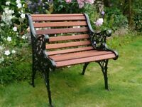 Cast iron garden bench/seat. Traditional English heavy pattern cast iron ends. 24 inches wide
