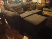 Brown felt & fabric sofa with matching footrest/blanket box