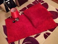 Red Rug, lamp and cushion