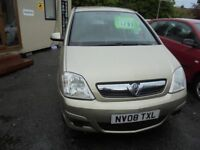 VAUXHALL MERIVA 1364cc CLUB 5 DOOR MPV 2008-08, ONLY 84K FROM NEW, 2 FORMER KEEPERS,