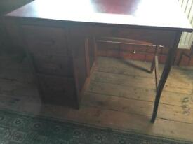 Wooden computer desk with leather top and draws