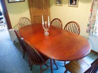 Dining table + 6 chairs, oval, extends, excellent quality