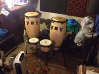 LP Latin Percussion Aspire Conga x 2 and Bongo x 2 and stands