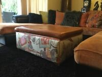 Upholstered - Leather covered ottoman