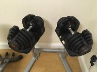 Bowflex 1090 dumbells with rack and bowflex bench