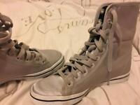 Adidas. Ladies size 5 silver pumps. Lace inlay. EXCELLENT condition. Worn ONCE.
