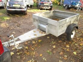 FULLY GALVANISED GOODS TRAILER WITH 5FT LONG A FRAME....