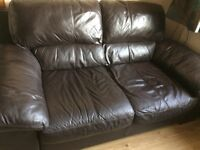 2 brown leather (2 seater) sofa good condition no rips or tears