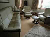 Stressless Leather Sofa 2 Recliners 2 Footstools