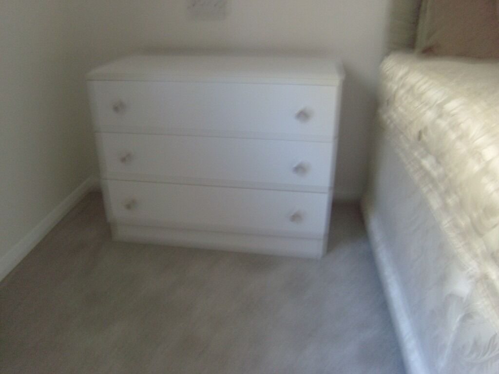 Two Chests Of 3 Drawers White Melamine 76cm Wide X 40 Cm