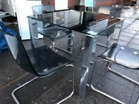 DESIGNER BLACK GLASS TABLE + 4 GHOST CHAIRS EXCELLENT CONDITION