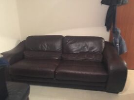 Large 2 seater brown leather
