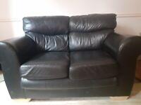 Black Leather Sofa - Forest Hill, London SE23