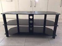 3 Shelf Black Glass TV Stand for sale