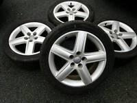 """GENUINE AUDI 17"""" ALLOY WHEELS & TYRES 5X112 A3 A4 TT VW CADDY GOLF PASSAT SEAT LEON T4 SKODA"""