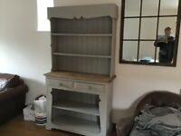 A VINTAGE/ANTIQUE BESPOKE DRESSER FINISHED,GREY CHALK PAINT NICE PRE-LOVED CONDITION FREE DELIVERY