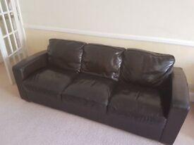 Chocolate Brown Leather Sofa's